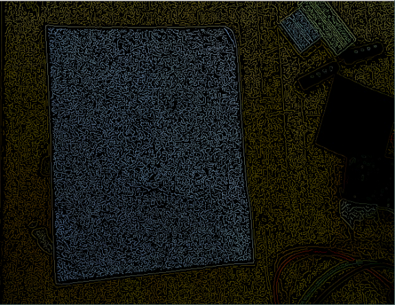 Canny edge detection with a low threshold